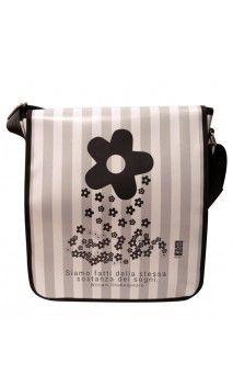 "#bags #borse #handmade #artigianali #pvc #flower #carry-all #grey #totebag #interchangeable #clip #tear-off #tracolla Tracolla ""Fiore"""