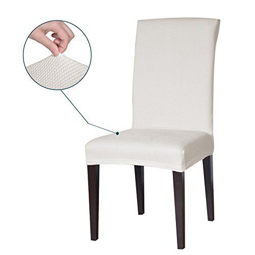 Subrtex Jacquard Stretch Dining Room Chair Slipcovers 4 White