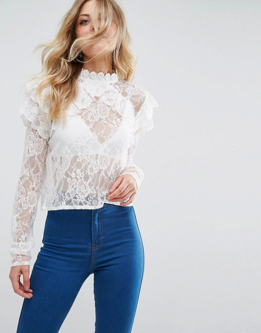 Lace Neck Tops