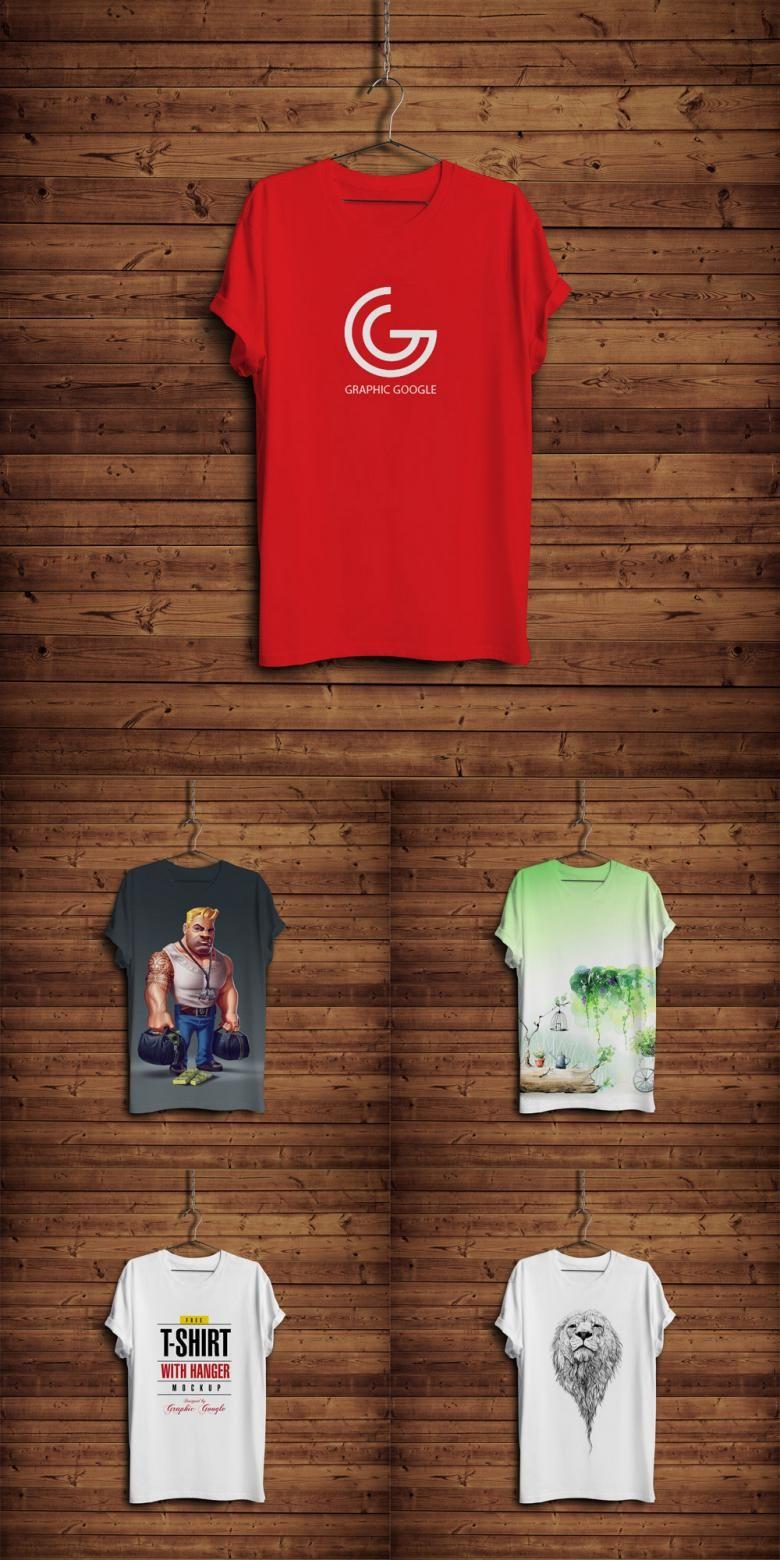 Download Free T Shirt And Hanger Mockup On Wooden Background Design Mockup Free Wooden Background Mockup Design