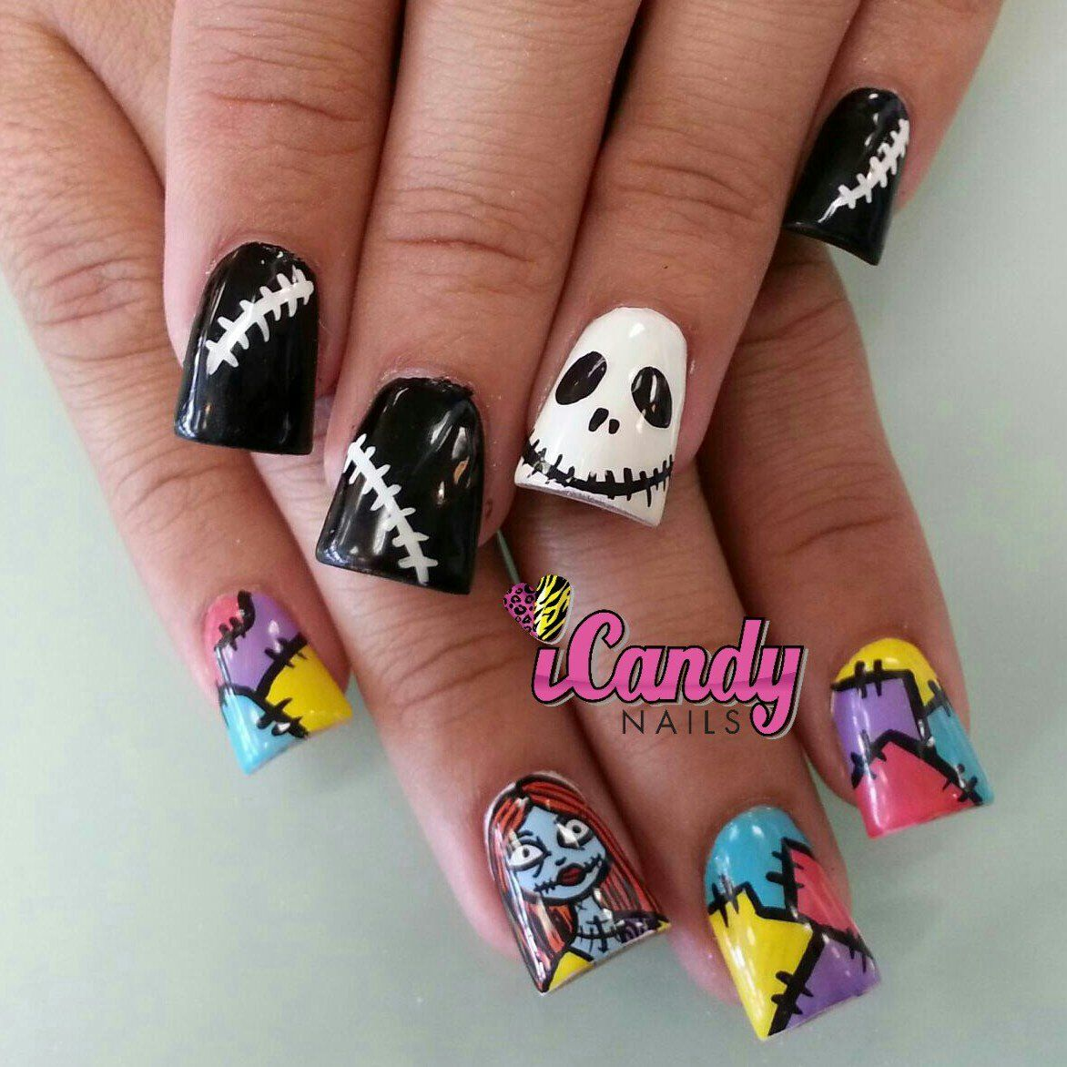The Nightmare Before Christmas Nightmare Before Christmas Nails Sally Nails Halloween Nails
