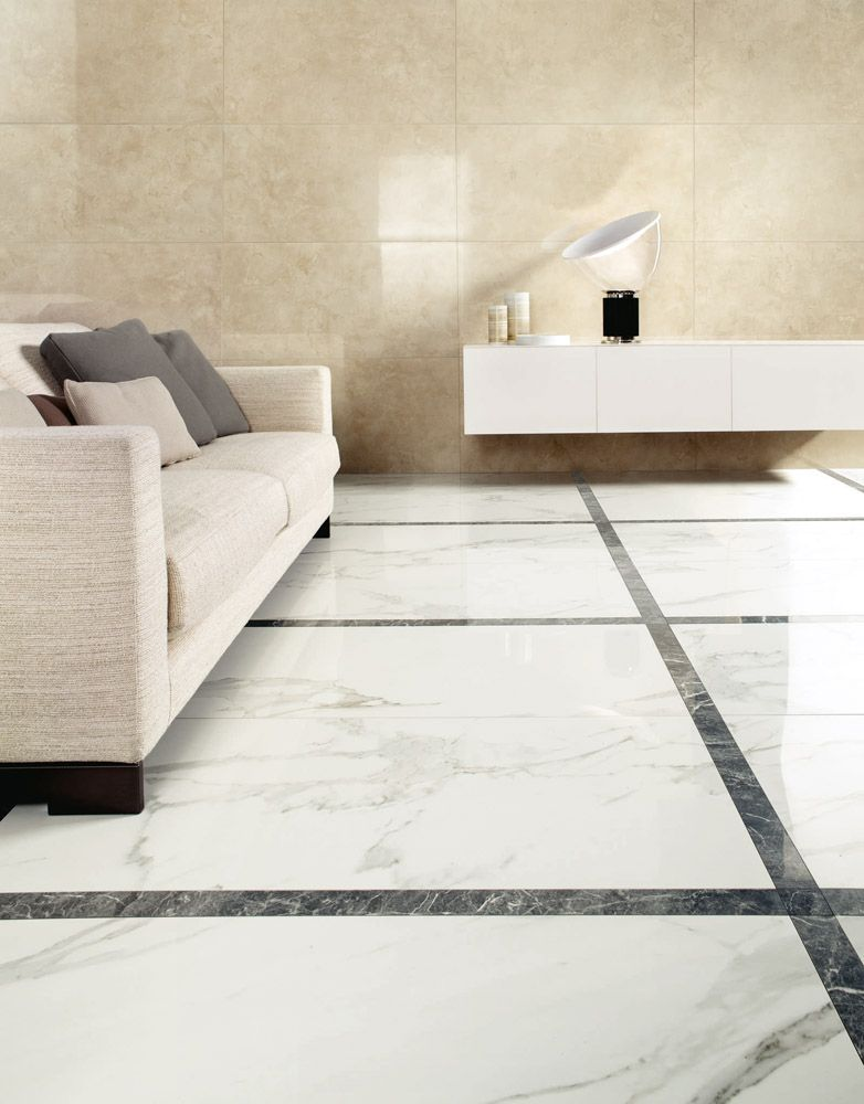 Luxurious Floor Tiles In A Living Room Black And White Marble Effect Porcelain Ceramic Floor Ceramic Floor Tile Floor Tile Design
