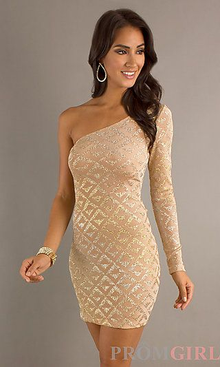 1d95a26f180 Short Metallic One Sleeve Dress by Jump at PromGirl.com  short  gold  one  Shoulder