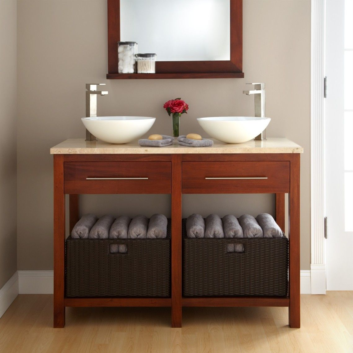 Awesome Brown Lacquered Oak Wood Open Shelves Vanity With Drawers