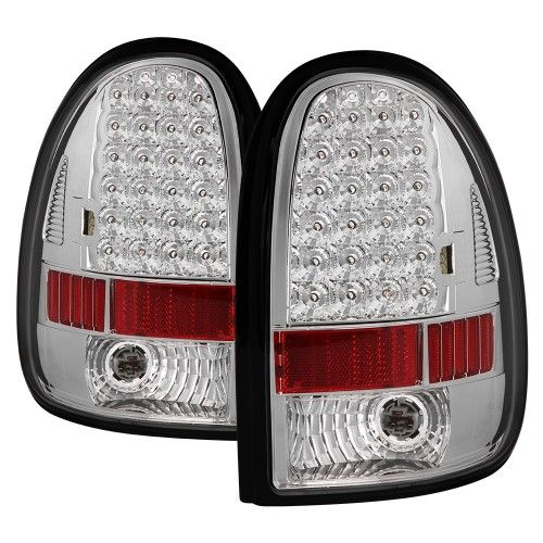 1996-2000 Chrysler Town & Country Voyager Grand Voyager Dodge Caravan Grand Caravan Plymouth 1998-2003 Dodge Durango LED Rear Tail Lights Brake Lamps Replacement Both Driver Passenger Sides Left Right Pair Set 1997 1998 1999 96 97 98 99 00 V4576245AB, V4576244AB, 4576245, 4576244, CH2800125, CH2801125, chrome