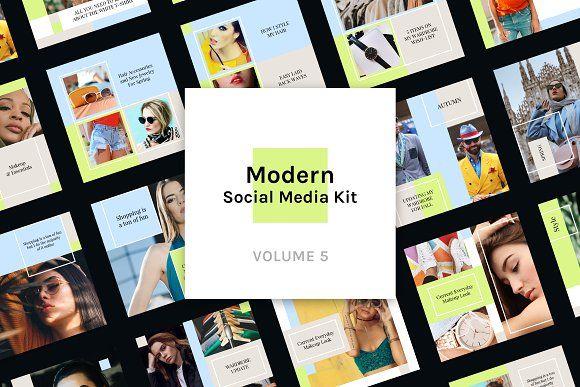 Modern Social Media Kit Vol 5 By Uispot On Creativemarket