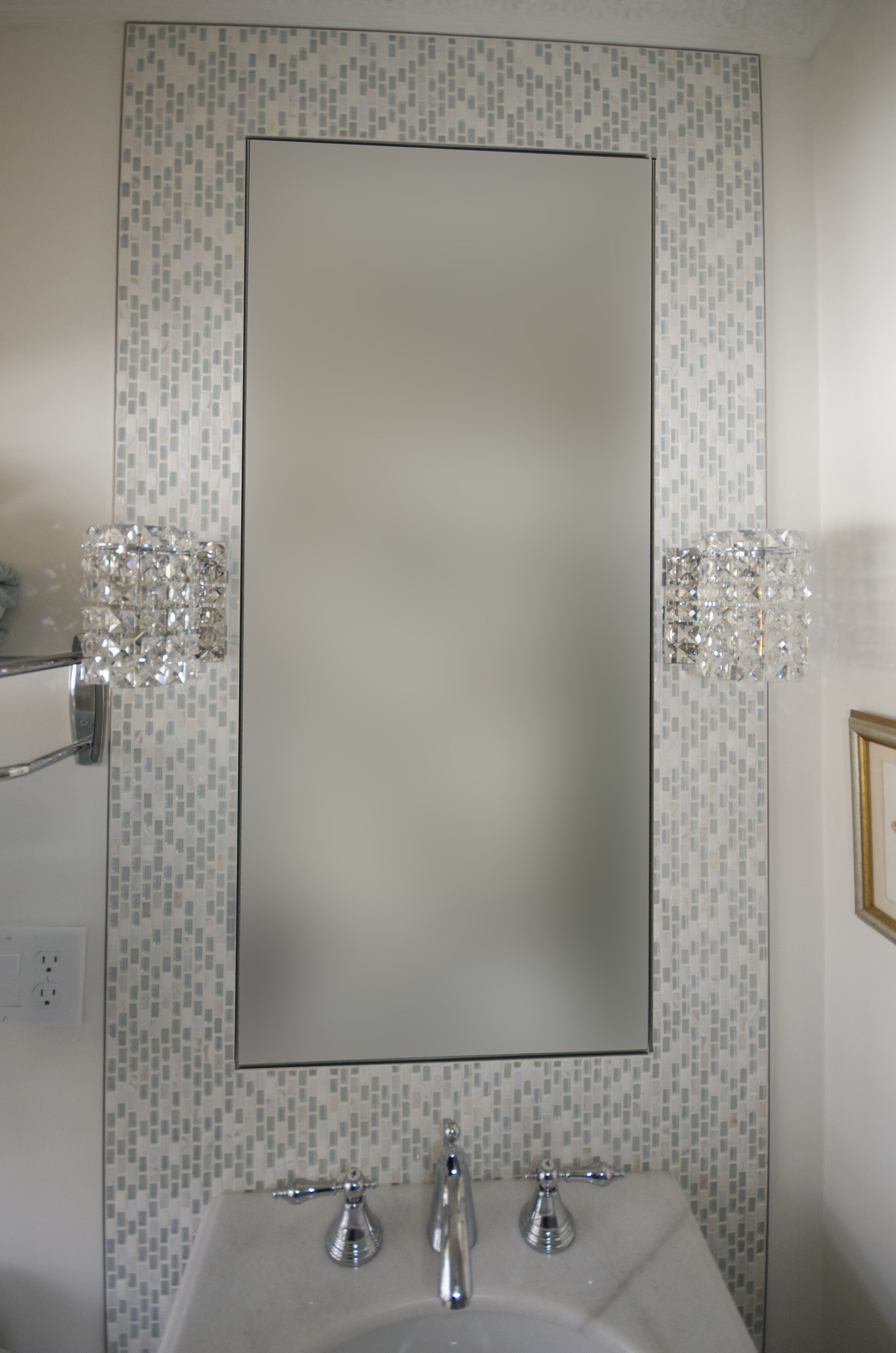 custom mirror with custom mosaic fram created above this on custom bathroom vanity mirrors id=95948