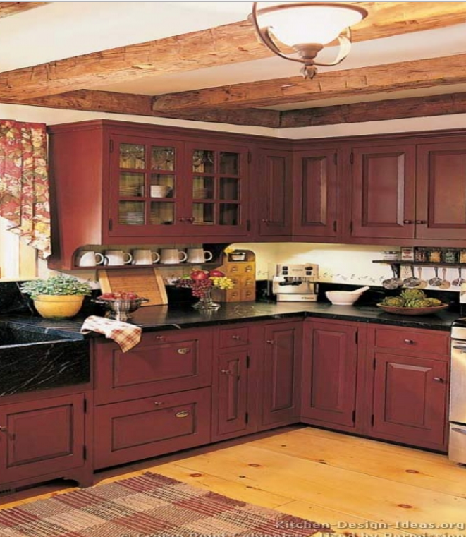 Consider | Red kitchen cabinets, Country kitchen designs ...