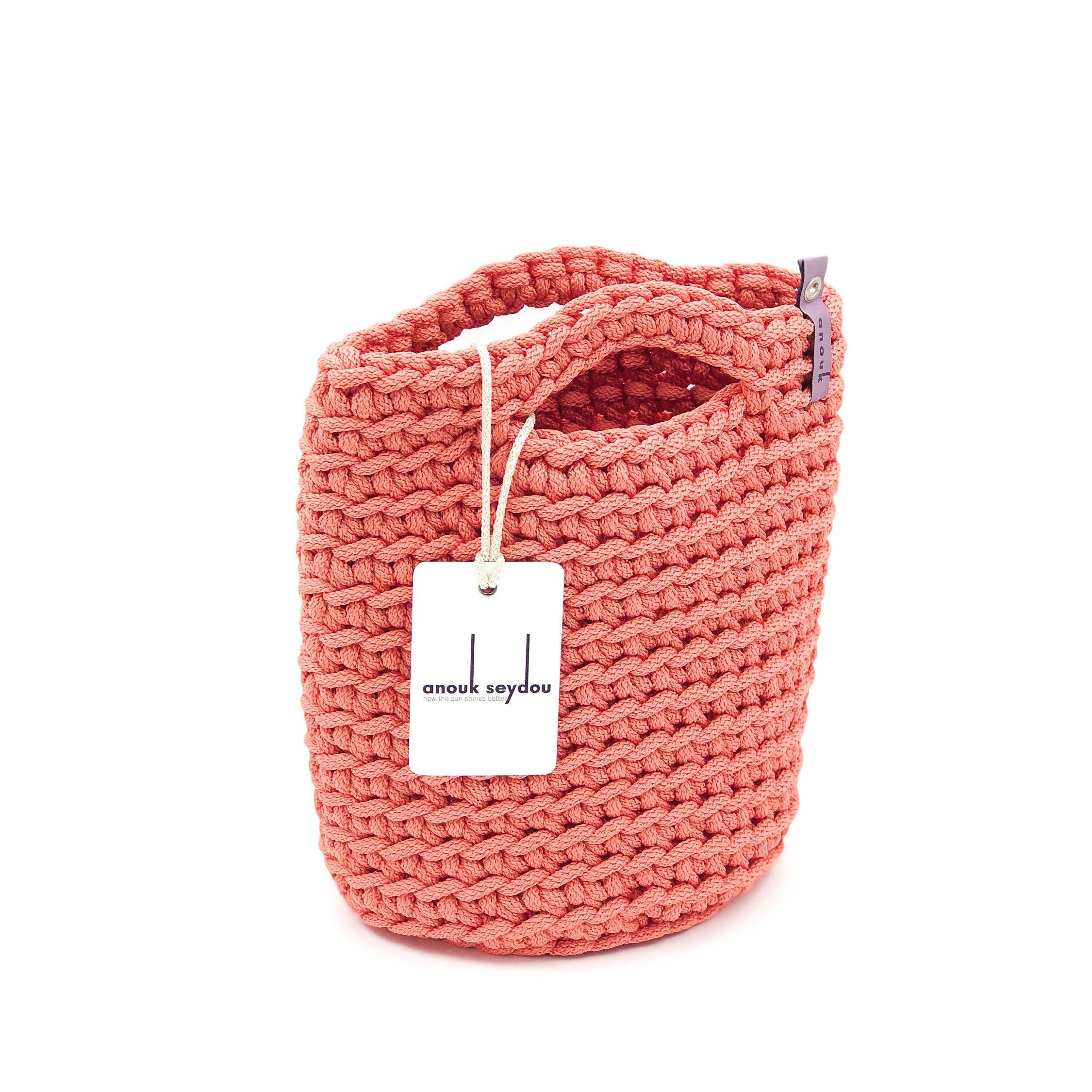 645eee493 Crochet Rope Tote Bag Knitted Handbag SALMON color Size MINI by anoukseydou  on Etsy