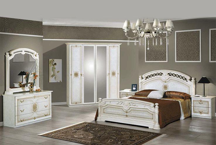 Janeiro Laque Blanc Et Dore Ensemble Chambre A Coucher Home
