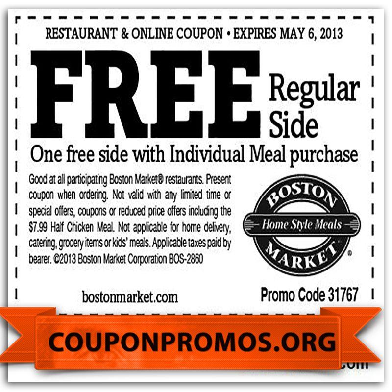 Free Printable Boston Market Coupon October 2017 Boston