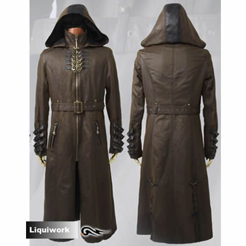 MEN HOODED STEAMPUNK GOTHIC COAT MILITARY REAL LEATHER TRENCH COAT JACKET NEW