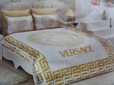 Luxury Versace White Gold Satin Bedding Set Sheets Luxury Box Medusa Best Bed Linens Luxury Versace Bedding Bedding Sets