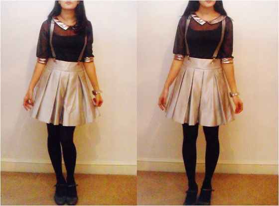 Sheer Shirt With Metallic Collar, Ted Baker Pleated Skirt, Silver Braces/Suspenders