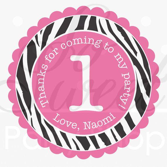 24 Birthday Favor Sticker Labels Girls 1st Birthday Party Zebra