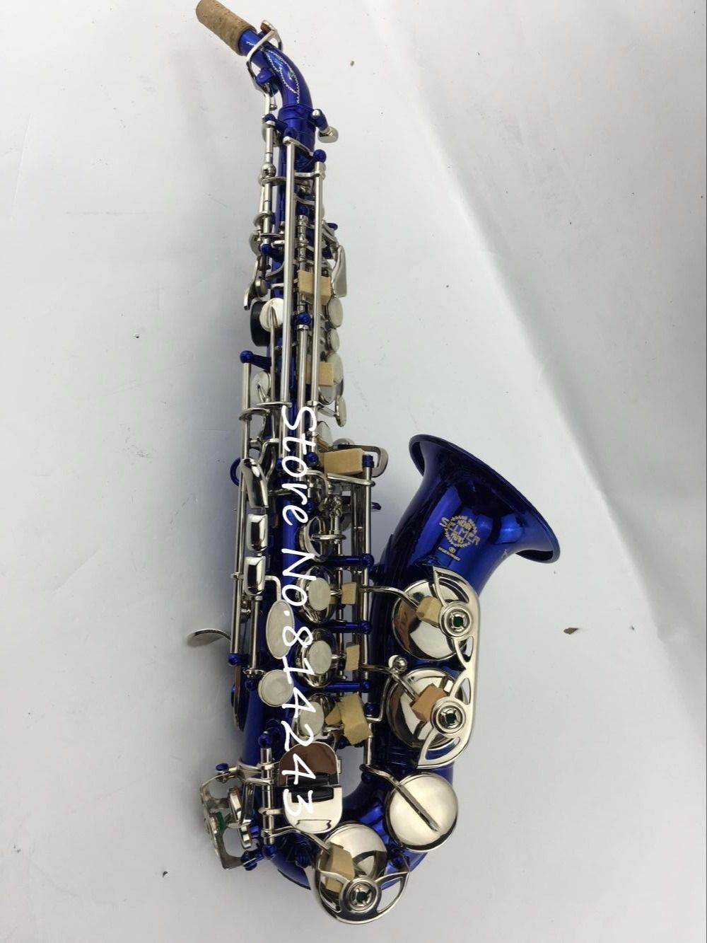 Selmer 54 Small Bend Bb Soprano Saxophone B Flat Klotz Pro Artist 6 Meter High Quality Instrument Cable Kabel Gitar Made In German Reference Blue Body Golden Key Sax Professional Affiliate