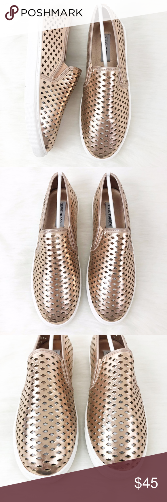 d0bfbe72266 Steve Madden Rose Gold Zeena Slip-On Sneaker New in box. Round toe. Dual  side goring. Perforated upper. Slip-on. Note  These run on the smaller side.