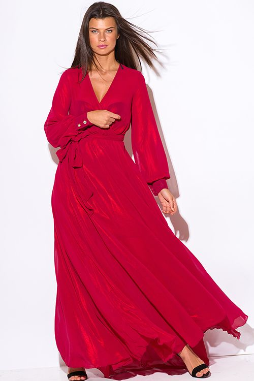 Cute cheap red metallic chiffon blouson long sleeve faux wrap formal ...