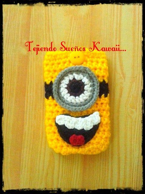 Minion crochet / funda para celular tejida. | 1crocher | Pinterest ...