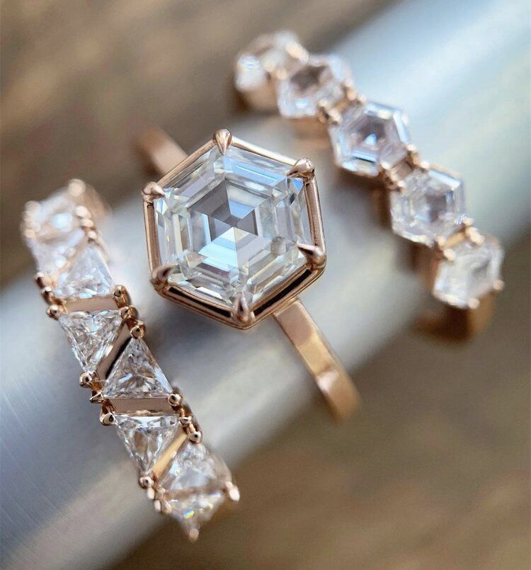 Hexagon diamond Ring — Elliot Gaskin Jewelry