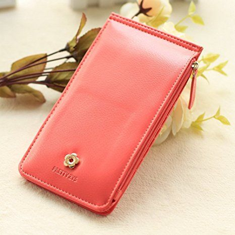 BaoLan Womens Wallets Bifold Multi Card holder Case Thin Long Wallet for Women with Zipper Pocket Watermelon red at Amazon Women's Clothing store: