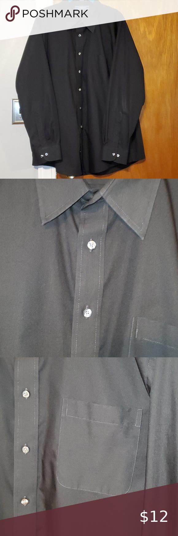 Men S Croft Barrow Black Dress Shirt 18 34 35 In 2020 Black Shirt Dress Mens Shirt Dress Shirts [ 1740 x 580 Pixel ]