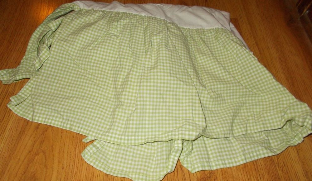 Pottery Barn Kids Green White Crib Skirt Dust Ruffle