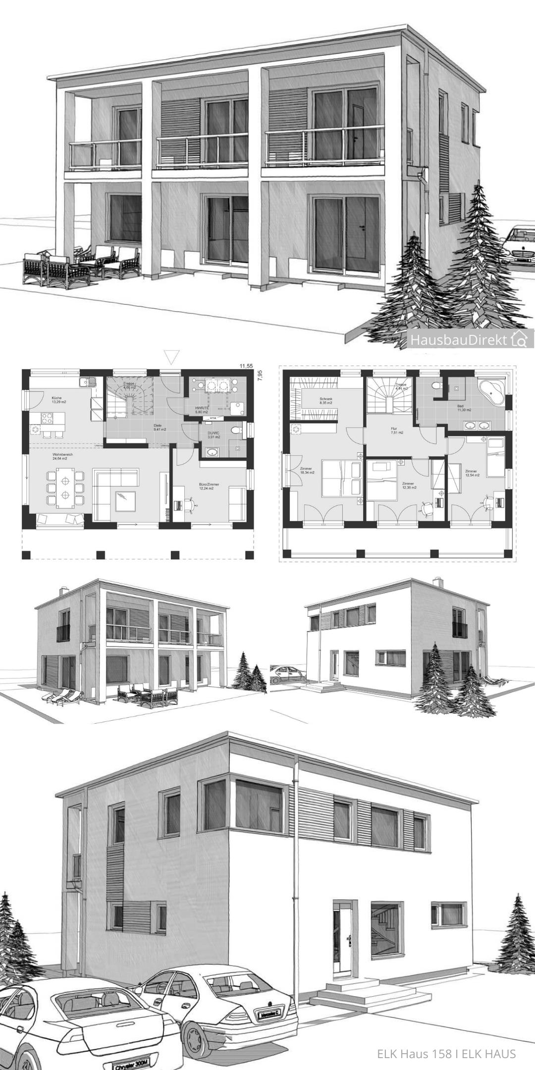 Grosses Einfamilienhaus modern mit Flachdach & offenem ...