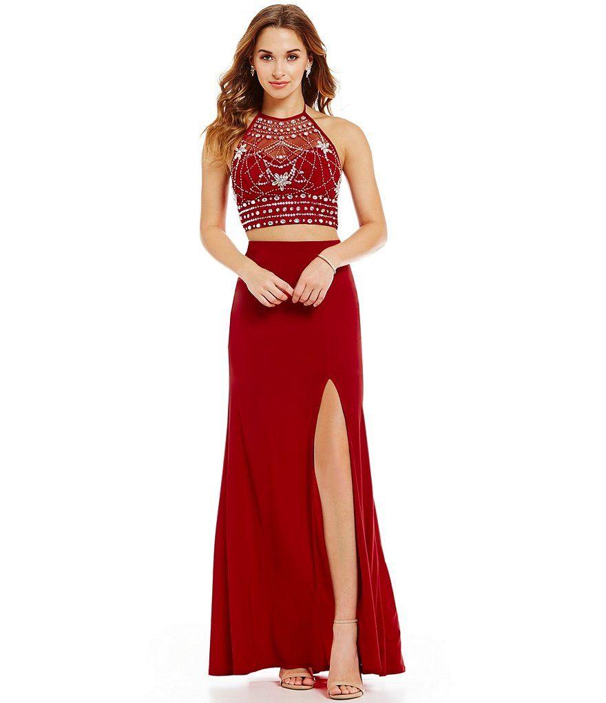 B darlin embellished halter twopiece long dress ideas dresses