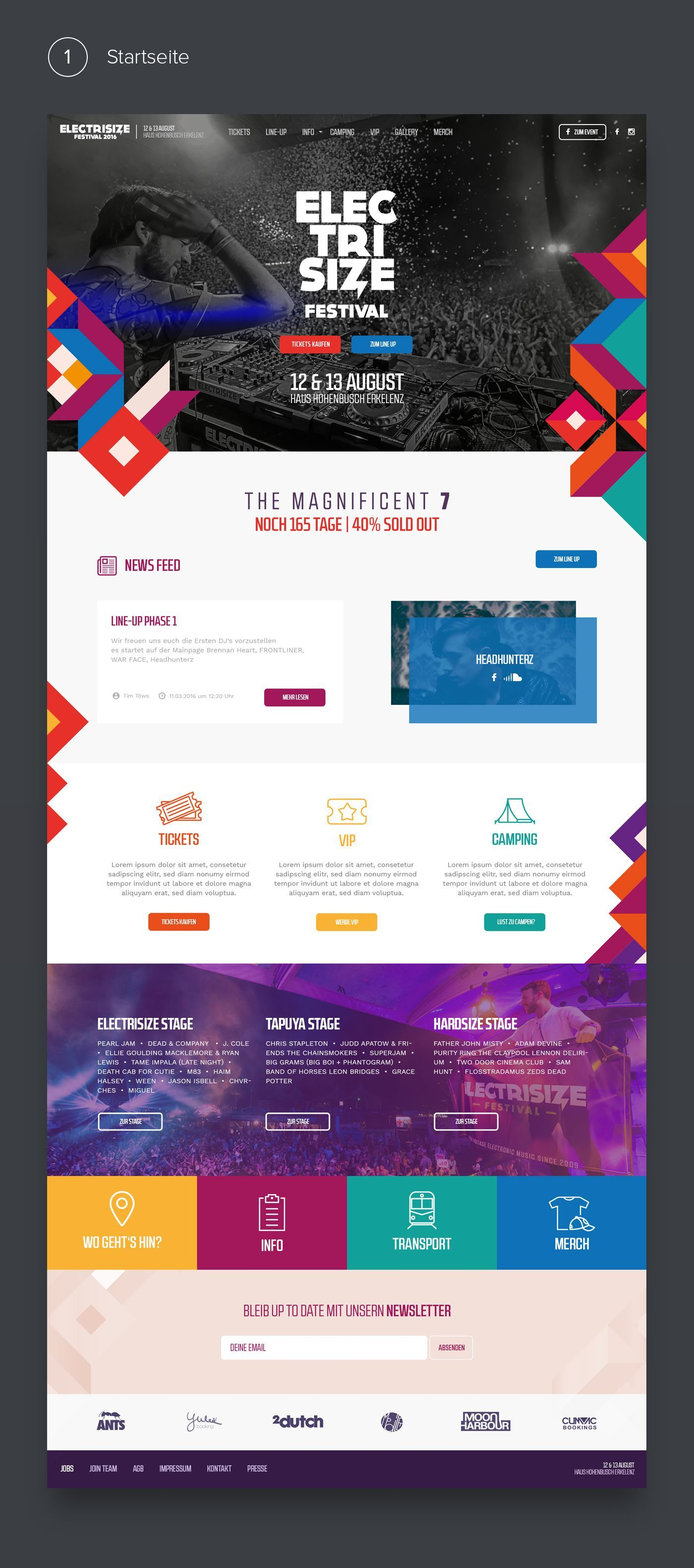 Electrisize Website Design 2016 Web Design And Corporate Design For A Festival In Germany Electr En 2020 Diseno De Sitios Web Disposicion De Diseno Web Diseno Web