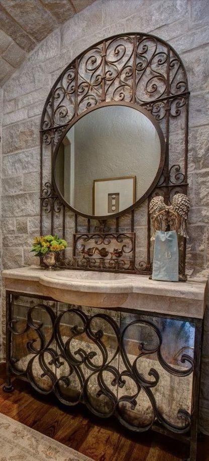 Antique Mirrored Iron Vanity Powder Room Old World Mediterranean Italian Spanish Tuscan Home Wrought Iron Mirror Wrought Iron Decor Wrought Iron Furniture