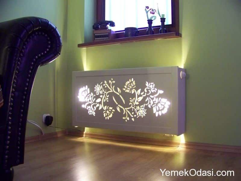 Led Aydinlatmali Kalorifer Petegi Kaplama Modeli Mobilya Antre Dekorasyonu Dekor