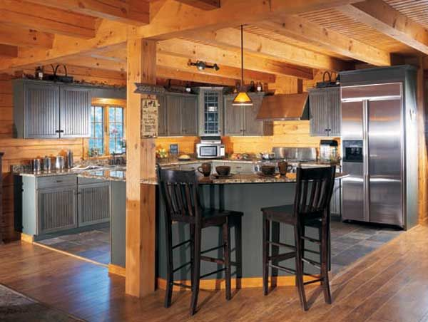 Kitchen Island Post kitchen island with support beams ideas | need rustic lighting for