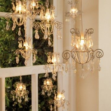 Chandelier string lights home decor pinterest chandeliers chandelier string lights mozeypictures Gallery