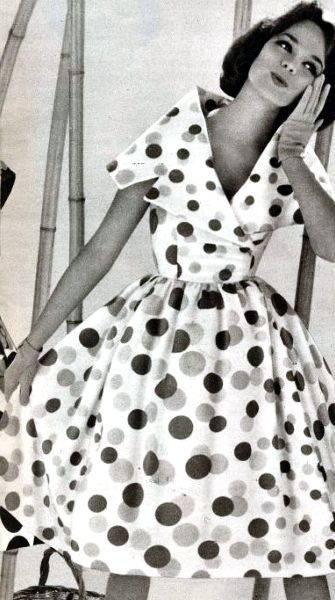 Poka Dots Polka Dot Dress 1960 Modestil Vintage