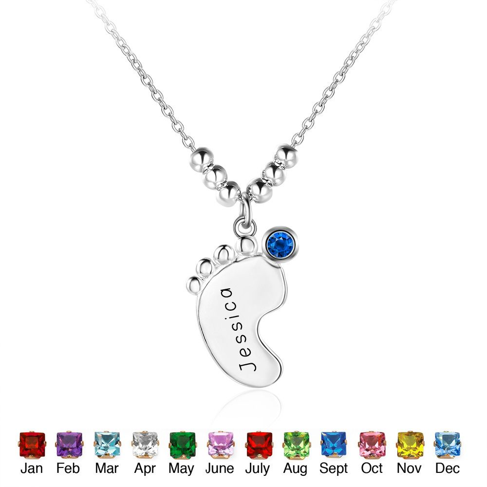 Customize name necklace sterling silver natural stone little