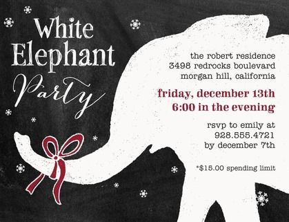 Love This White Elephant Gift Exchange Invite With The Contrast And - White elephant christmas party invitations templates