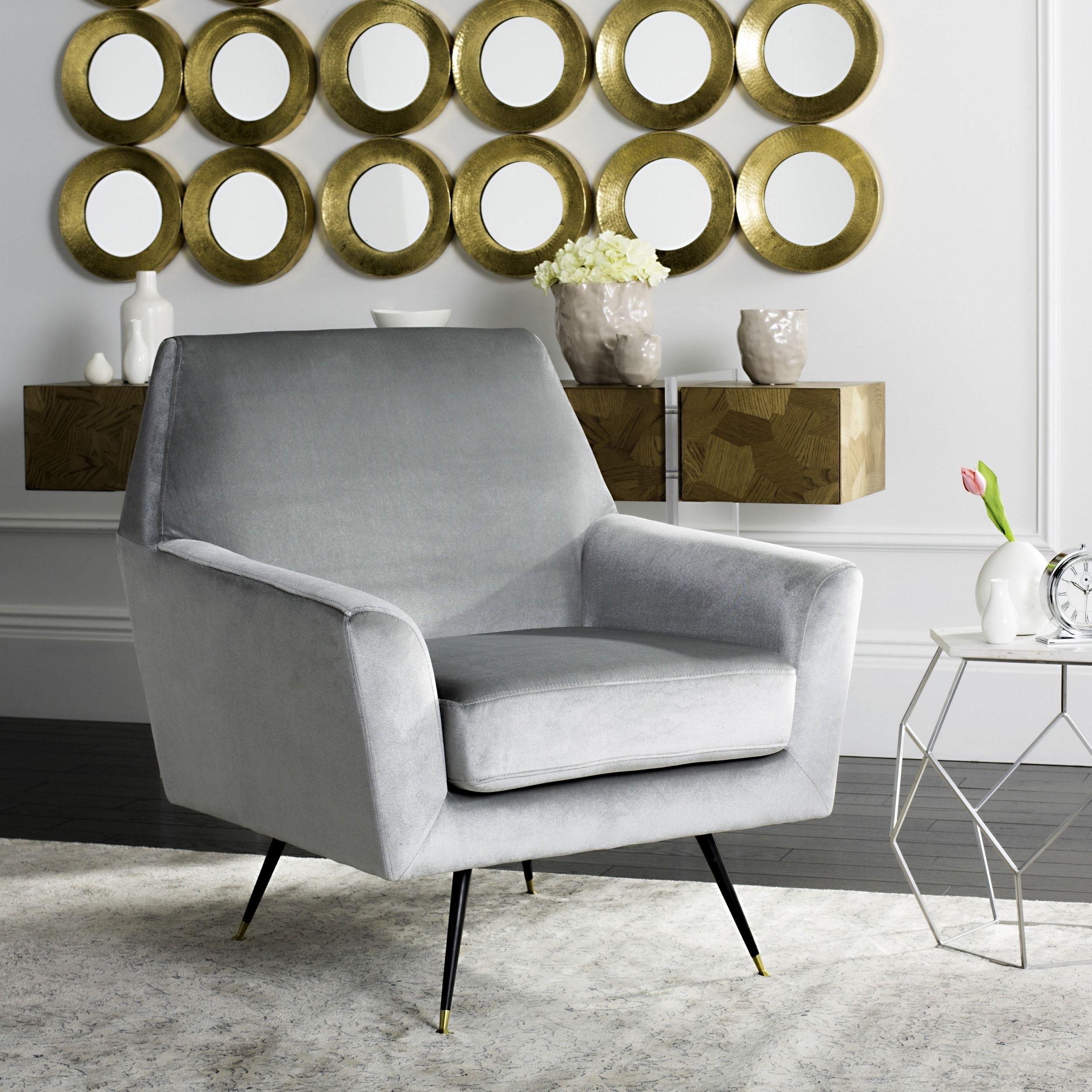 Safavieh Mid Century Modern Nynette Velvet Light Grey Club Chair