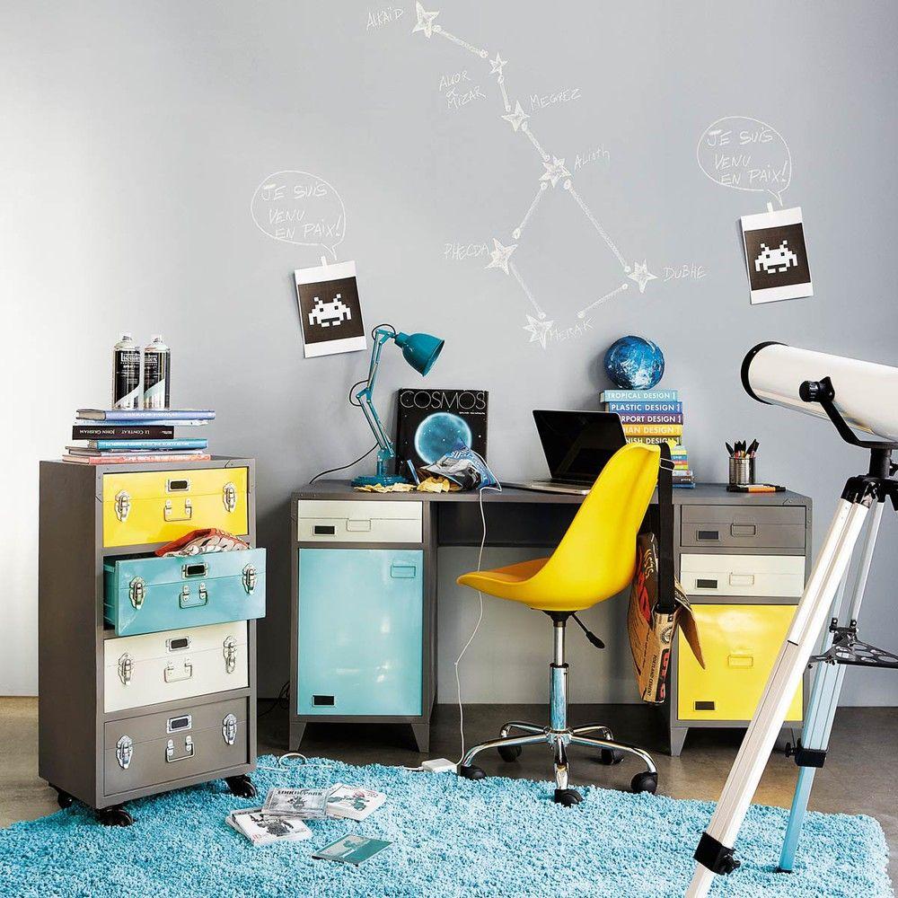 Sedia da scrivania a rotelle gialla Bristol | Maisons du Monde