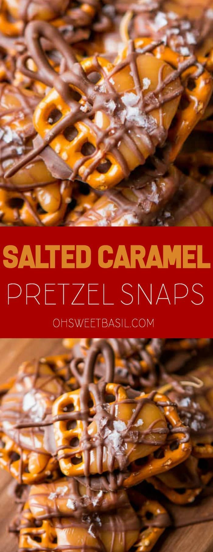 We cannot stop munching on these salted caramel pretzel snaps! They only take a couple of ingredients and no time at all to make! cannot stop munching on these salted caramel pretzel snaps! They only take a couple of ingredients and no time at all to make!