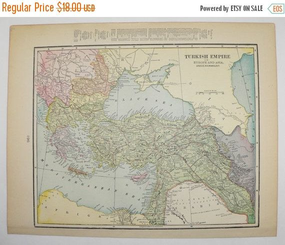 Turkish Empire Map of Turkey 1900 Antique Map Middle East Map