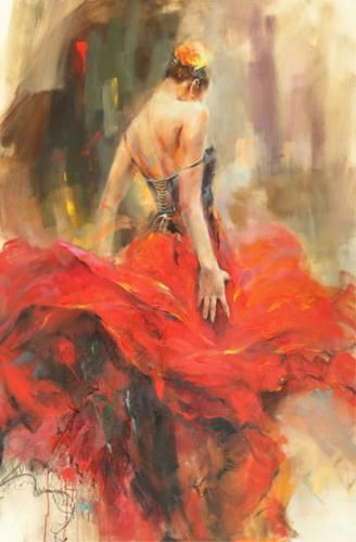 Giro II Limited Edition Giclee by Anna Razumovskaya is part of Dancer painting, Art, Dance paintings, Art painting, Flamenco dancers, Painting -  Giro II  by Anna Razumovskaya  Anna is best known for her figurative paintings of elegant dancers, musicians, and romance  Art Leaders Gallery 248 539 0262