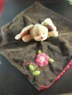 Honey bunny Carters lovey lovie security blanket brown pink flowers 16x16