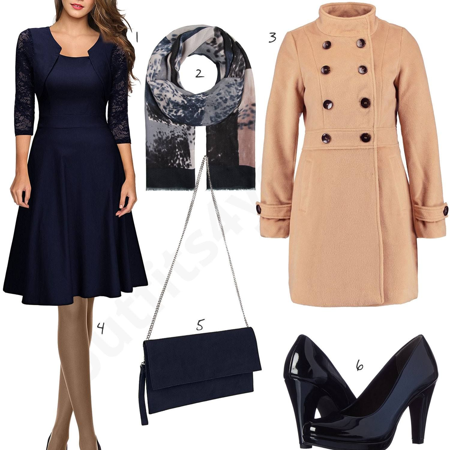Dunkelblaues Kleid, Lack-Pumps, Clutch und warmer Mantel