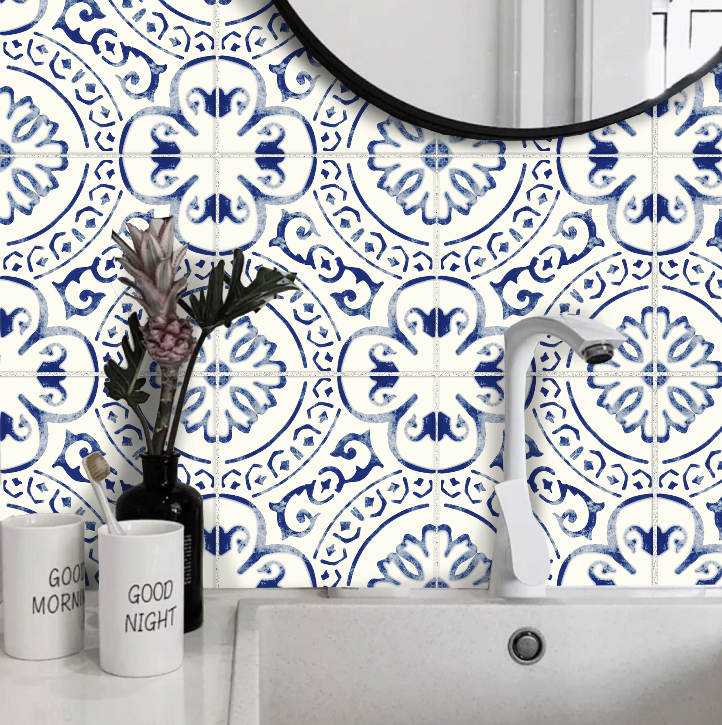 Tile Sticker Kitchen Bath Floor Wall Waterproof Removable Peel N Stick A72n Navy Blue White A72n Ba In 2020 Tile Stickers Kitchen Wall Waterproofing Tile Decals