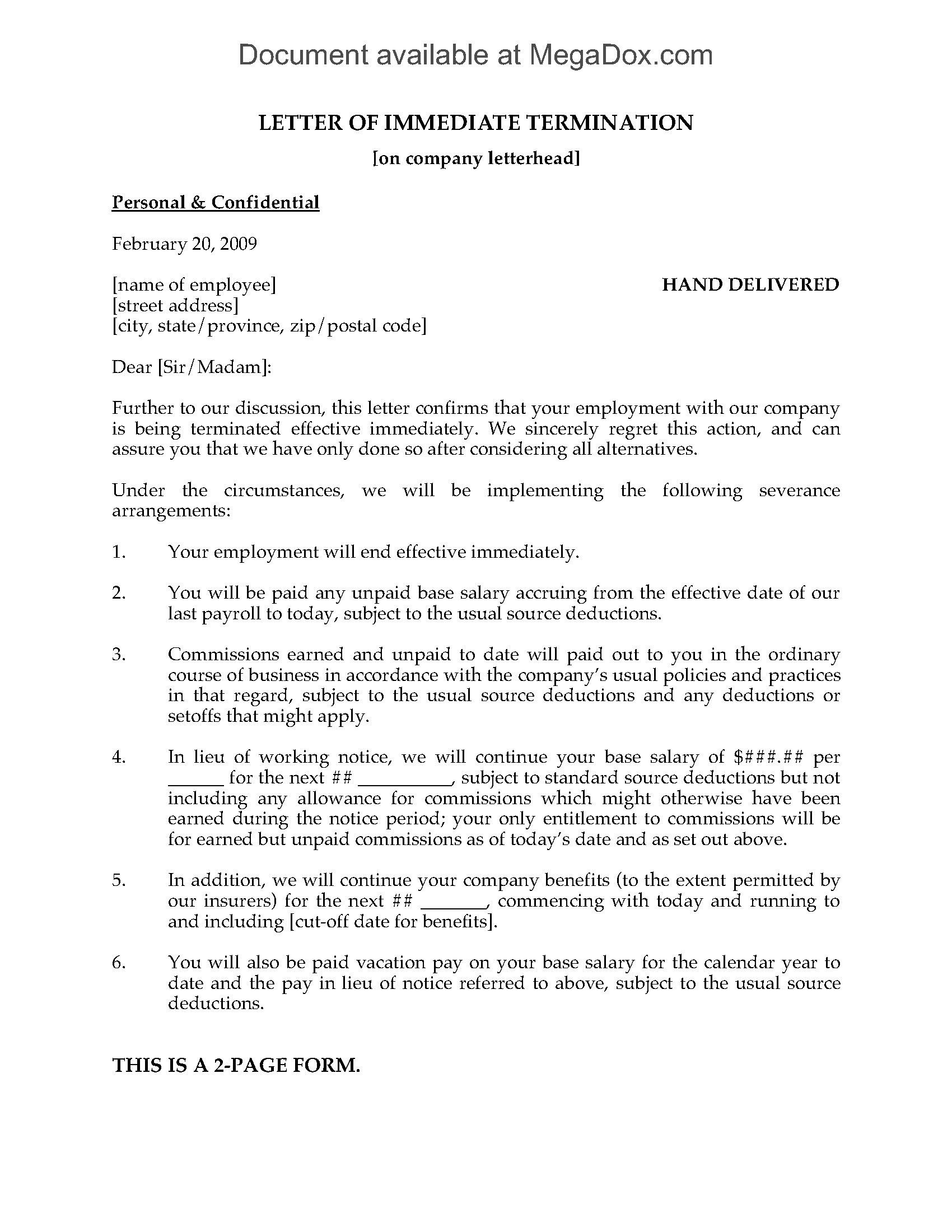 Termination For Cause Letter Awesome Reason For Termination Letter Resignation Letter Letter Templates Free Resignation Letter Sample