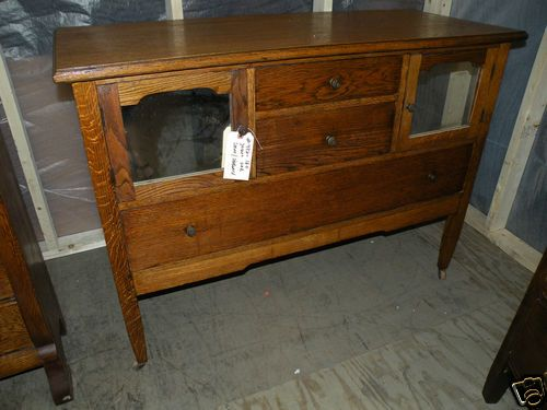 Free SHIP Antique Oak Dining Room Server Sideboard Buffet Cabinet