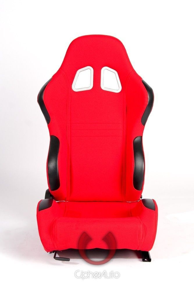 2X SPARCO RECARO STYLE UNIVERSAL RED CLOTH RACING SEATS