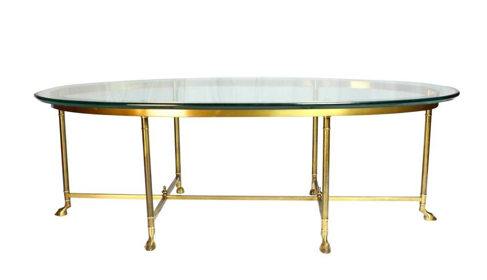 Vintage Oval Brass And Glass Hoof Foot Coffee Table Labarge Jansen
