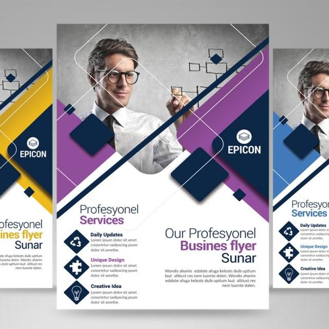 purple blue shapes consultant corporate creative brochure cards